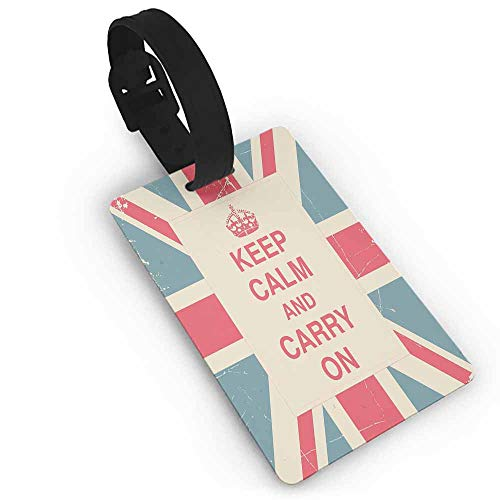 Funky Travel Luggage Tags Keep Calm,Keep Calm and Carry On Text against the British Flag with Aged Look,Peach Dark Coral Blue One Size Bag Pendant