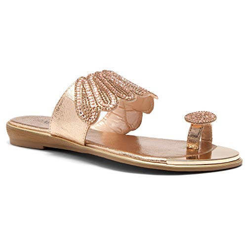 - Herstyle Showstopper Womens Rhinestone Bohemian Slip On Flip Flops Shoes Strap Gladiator Toe Loop Flat Sandals Rose Gold 9.0
