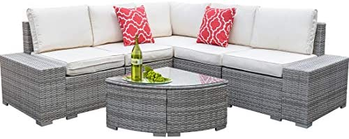 COU Outdoor Wicker Patio Furniture Sofa Set,6pcs All-Weather PE Rattan Porch Sectional Sofa Furniture Set