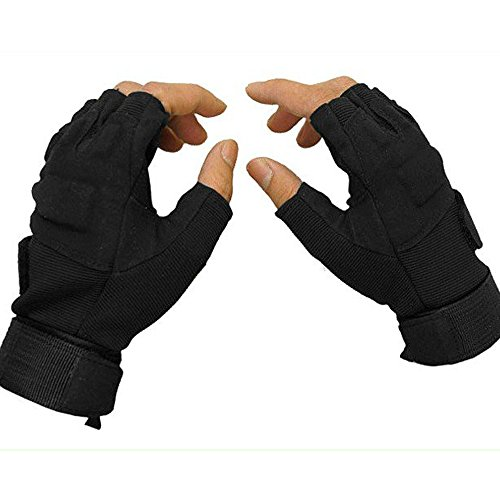 SUPOW(TM) Outdoor Sports Military Tactical Half Finger Gloves Men's Airsoft Hunting Riding Game Glove Mitten Fingerless Bike Cycling Bicycle Driving CS Gloves (Black, L)