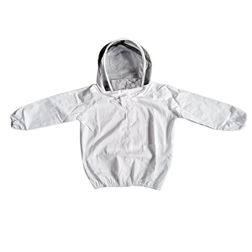 Homyl Beekeeper Beekeeping Protective Veil Suit Dress Jacket Smock Bee Hat White