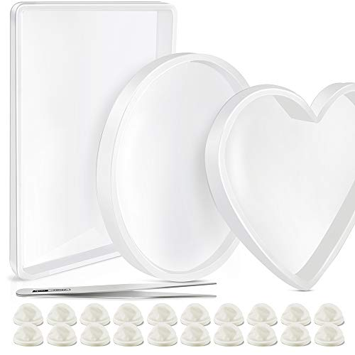 3 Pcs Oversized Resin Mold,Transparent Flexible Silicone Molds, Include Round, Rectangle, Heart Shaped Coaster Mold, Decorative Mold, Come with 20 Pcs Finger Sets, 1Pcs Tweezer