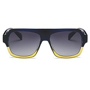 Amomoma Men's Women's Fashion Flat Top Square Sunglasses Retro Shades AM2004 Blue and Yellow Frame/Grey Lens