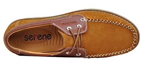 Serene Mens Breathe Suede Upper Leather Casual Fashion Sneakers(7 D(M)US, Brown)
