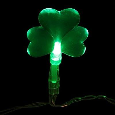 Set of 20 Battery Operated St. Patricks Day Irish Shamrock LED Christmas Lights - Clear Wire