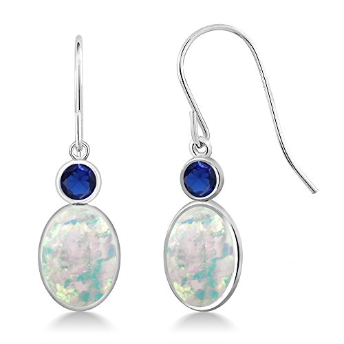 Gem Stone King 2.36 Ct Oval Cabochon White Simulated Opal Blue Simulated Sapphire 14K White Gold Earrings