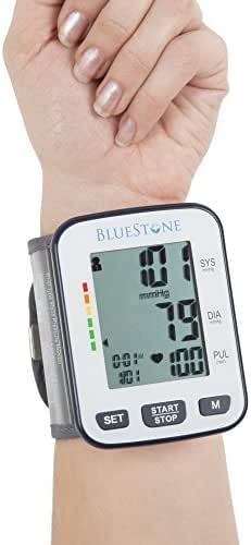 Bluestone Blood Pressure Cuff – Electronic Digital Wrist Heart Monitor with LCD Display Personal Health Tracker Device for Pulse and Hypertension
