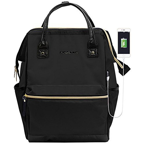 KROSER Laptop Backpack 15.6 Inch Daypack With USB Port/Water Repellent P. U. leather Nylon Briefcase Laptop Bag Business Bag Tablet for College/Travel/Business/Sports/Women/Men-Black