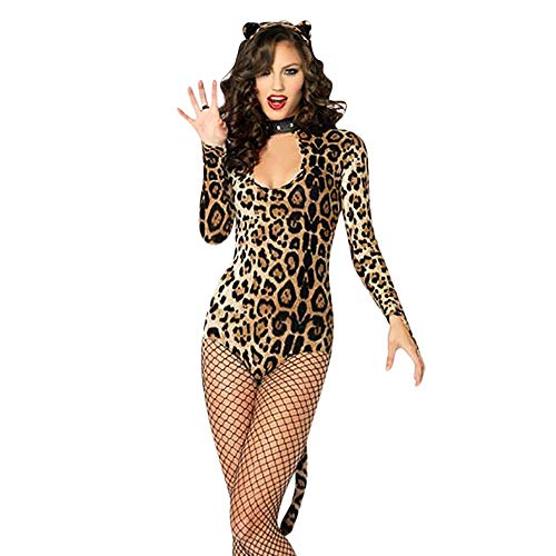 Womens Tempt Lingerie Set Sex Big Sale- Jiayit 3pcs Women's Cougar Cosplay Leopard Print Catwoman Costume Jumpsuit Headband -