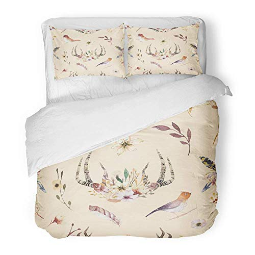 MIGAGA Decor Duvet Cover Set Twin Size Bohemiamn of Watercolor Floral Boho Antler Western Vintage Deer Horns Flowers 3 Piece Brushed Microfiber Fabric Print Bedding Set Cover