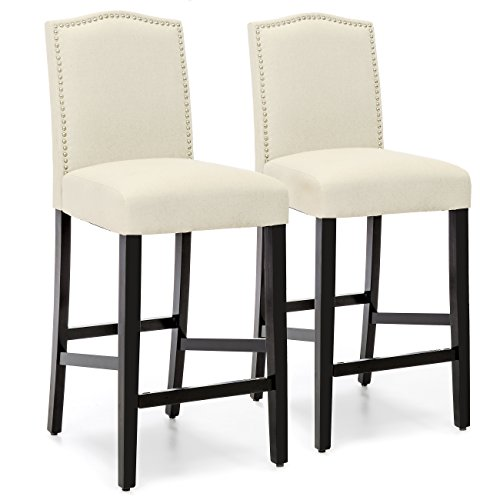 Best Choice Products Set of 2 30in Contemporary Faux Leather Counter Height Armless Backed Accent Breakfast Bar Stool Chairs for Dining Room, Kitchen, Bar w/Studded Nail Head Trim - Ivory