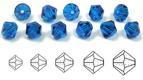 8mm Capri Blue, Czech MC Rondell Bead (Bicone, Diamond Shape), 1/2 gross =72 pieces