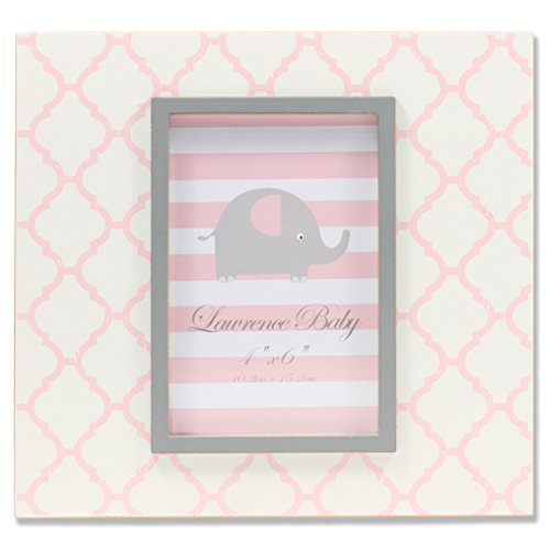 Lawrence Frames 4'' x 6'' Distressed White Wood Frame with Pink Moroccan Pattern by Lawrence Frames