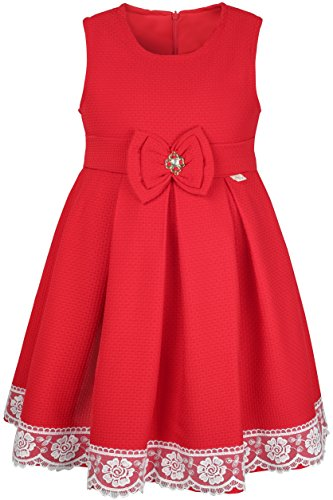 Lilax Little Girls' Solid A-Line Sleeveless Easter Toddler Party Dress 5T Red