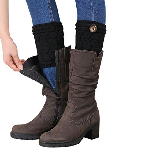Kintted Leg Warmers Socks,Hemlock Womens Girl's Twisted Buckle Leg Socks Boot Cuffs (Black)