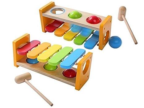 AK Sport - Mesa de juegos 2 en 1 para bebés, madera, multicolor ...