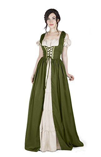Renaissance Medieval Irish Costume Over Dress & Boho Chemise Set (S/M, Olive Green) -