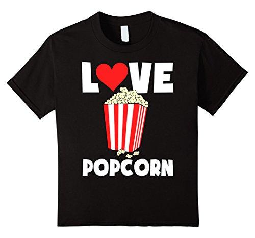 Popcorn Tee (Kids Love Popcorn funny T-Shirt 12 Black)