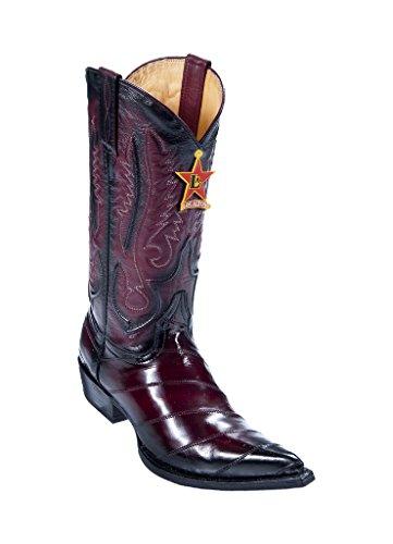 Burgundy Men's Altos Heel Toe Cowboy Genuine Faded Leather 3X W EEL Los Western Boots O5wqpaUaF