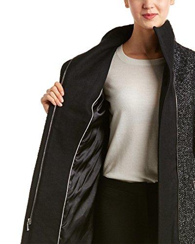 T Tahari Women's Eva Fitted Tweed Coat with Belt, Black Combo, X-Large