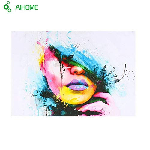 Cacys-Store - Sexy Women Face Fashion & Modern Canvas Painting Wall Picture Abstract Figures Oil Painting for Living Room Decor