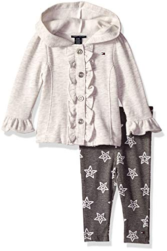 Tommy Hilfiger Baby Girls 2 Pieces Jacket Set, Oatmeal/Gray, 3-6 Months