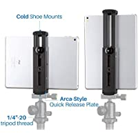 Ulanzi iPad Tripod Mount Adapter - Aluminum Metal Tablet Tripod Mount Holder Cold Shoe Quick Release Plate 1/4 Screw Mount iPad Mini iPad 4 3 2 iPad Pro Surface Pro etc.