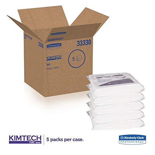 (Kimtech 33330 W4 Critical Task Wipers, Flat Double Bag, 12x12, White, 100/pack, 5 Packs/carton )