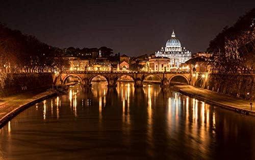 自然風景アートキャンバスプリントポスター、家の壁の装飾ポスター(イタリア、ローマ、橋、大聖堂、川、ライト)50x33cm
