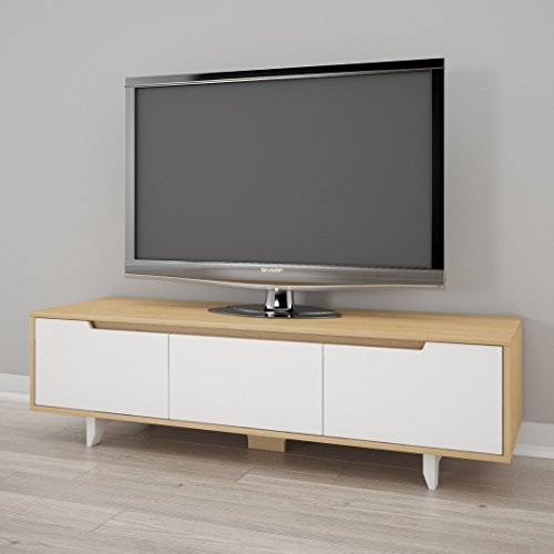 Nexera Nordik 60-inch TV Stand, White and Natural Maple (Stand Maple Tv Modern)