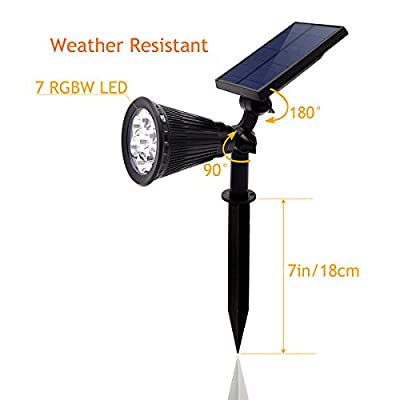 Solar Garden Lights - 7 LED Solar Spot light Bright & Dark Sensing Auto On/Off In-ground Light for the Yard Patio Lawn - Landscape Lighting Outdoor Waterproof Security (Multi Color) ¡