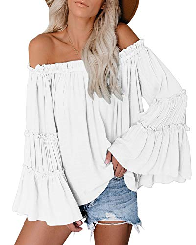 Womens Off The Shoulder Long Bell Sleeve Tops...