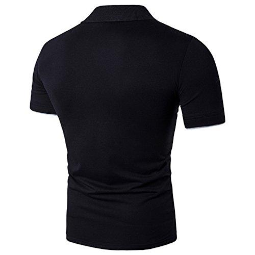 shirt T Noir Manches Polo Acmede Loisir Imprimé Décontracté Homme Courtes xptAPP