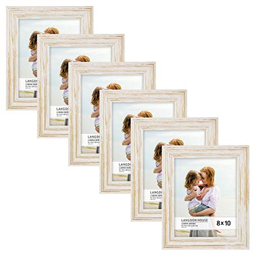 Langdons 8x10 Real Wood Picture Frames (6 Pack, Weathered White - Gold Accents), White Wooden Photo Frame 8 x 10, Wall Mount or Table Top, Set of 6 Lumina - Distressed Frame Picture White