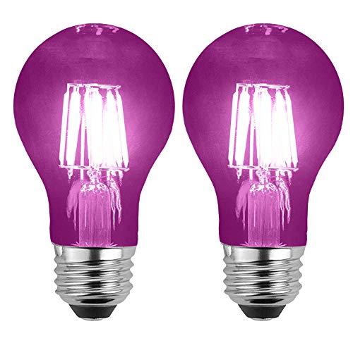 SleekLighting LED 6Watt Filament A19 Purple Colored Light Bulbs Dimmable - UL Listed, E26 Base Lightbulb - Energy Saving - Lasts for 25000 Hours - Heavy Duty Glass - 2 Pack (Lightbulb Purple)