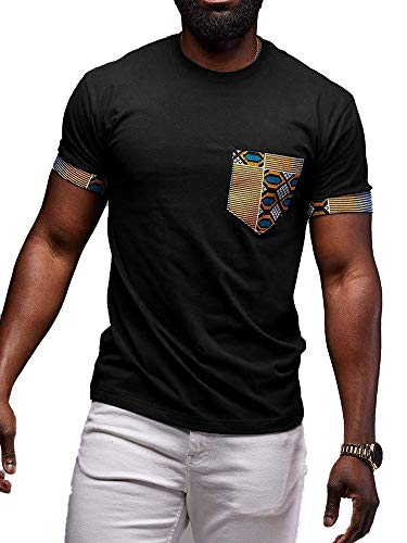 (Mens African Print T-Shirt Dashiki Tops Tribal Short Sleeve V Neck Casual Tees Blouse (D-Black,)