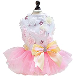 uxcell Small Pet Dog Princess Dress Cat Puppy Skirt Tutu Apparel Costume Pink M