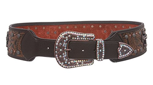 (MONIQUE Women Western Rhinestone Buckle Cross Ornaments Contour 70mm Belt,Brown S/M - 34)