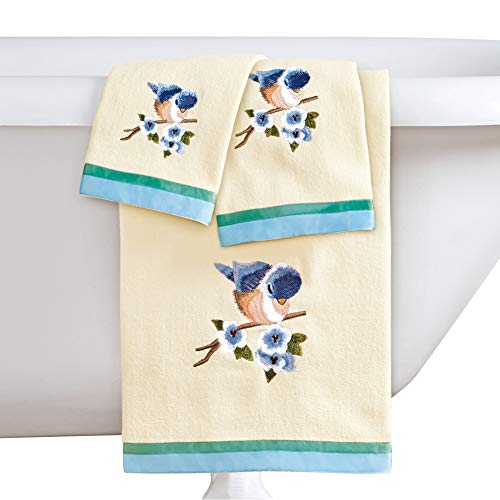 Collections Etc Bird Embroidered Towels with Ribbon Trim - Set of 3, Includes Bath Towel, Hand Towel, and Washcloth