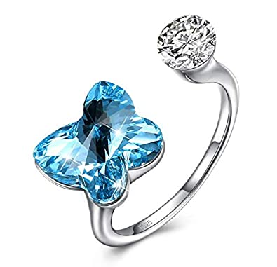 bb5468d00 Lekani Silver S925 Swarovski Crystal Ring Adjustable Opening Butterfly  Ideal Gift: Amazon.co.uk: Jewellery