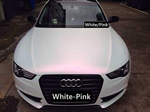 3D Perlmutt Effekt Folie Wei/ß Pink mit Luftkanal 1,52m Car Wrapping Farbwechsel Musterst/ück 10x10