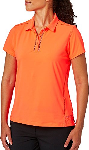 Lady Hagen Women's Cape May Collection Ladder Trim Golf Polo (Coral Ember, XS)