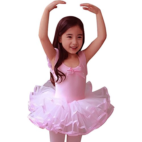 CM-CG Little Girls' Short Sleeve Tiered Tutu Ballet Party Dresses 4-5Y, Pink
