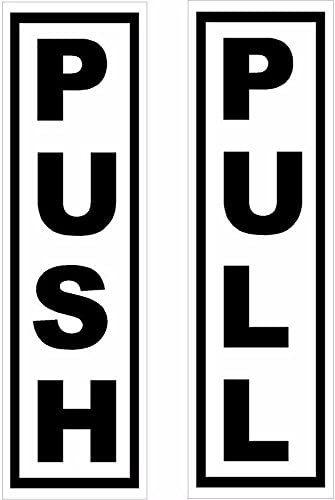 """MAGNET 2 Piece Push Pull Door Sign 1.75"""" x 6"""" MAGNETIC Sticker Decal Self Adh..."""