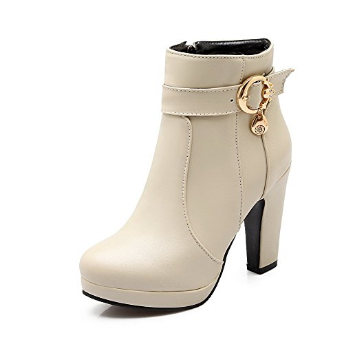 AgooLar Women's Zipper High-Heels PU Solid Low-Top Boots Beige MCeNA