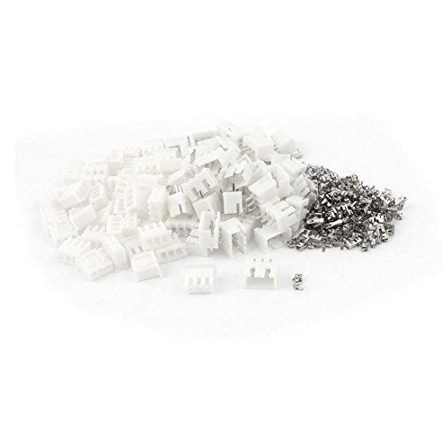 50Pcs 2.54mm Emplacement 3 borne Broche tête Kits de connecteurs Blanc
