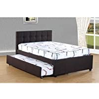 Best Quality Furniture K26 Bed W/Trundle Woven Fabric Upholstered, Full, Dark Coffee