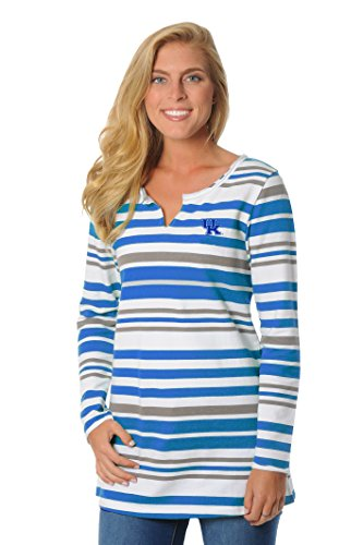 ts Women's Striped Tunic Fleece Top, Large, Royal Blue/Grey/White (Kentucky University Embroidery)