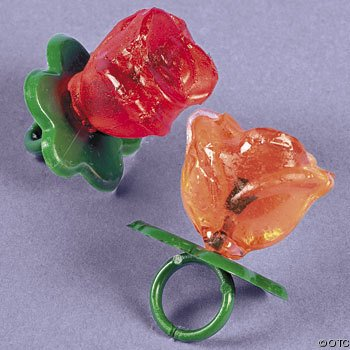 Rose Shaped Ring Candy Suckers (1 dz) (Rings Sucker)