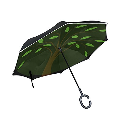 QYUESHANG Double Layer Inverted Tree Green Leaves Branches Leafy Plant Aura Umbrellas Reverse Folding Umbrella Windproof Uv Protection Big Straight Umbrella For Car Rain Outdoor With C-shaped Handle